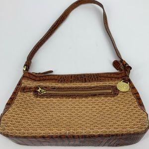 Brahmin Tisbury handbag purse straw body croc trim